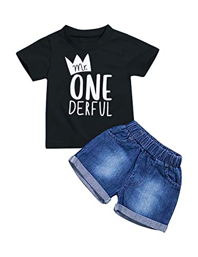 Toddler Baby Boy Clothes First Birthday Outfit Summer T-Shirt Denim Shorts Outfits Set Clothes (A-Black, 18-24 Months) -