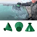 RDTIAN Windshield Ice Scraper A Round Magical Cone Shaped Scrape Snow Shovel Tool (10cm, Green)