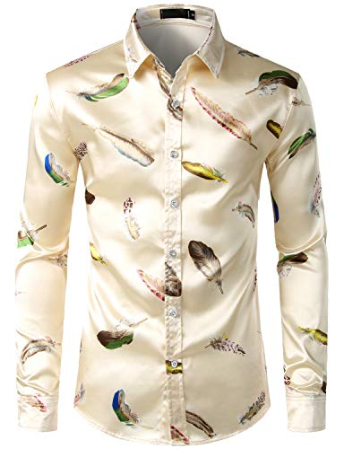 (ZEROYAA Men's Luxury Feather Design Slim Fit Silk Like Satin Dress Shirt ZLCL15-Champagne)