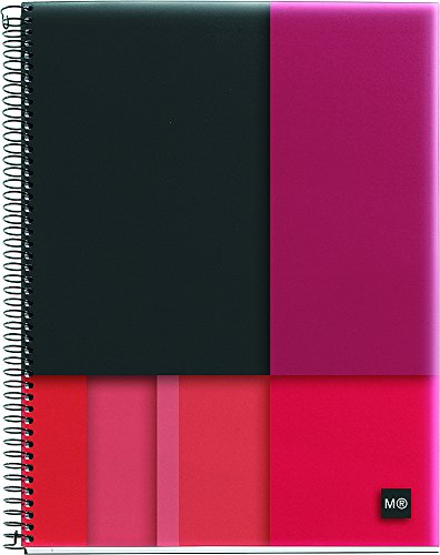 """Miquelrius Large 4-Subject Spiral Bound Notebook, Scope (8.5"""" x 11"""", College Ruled, ) (Red)"""