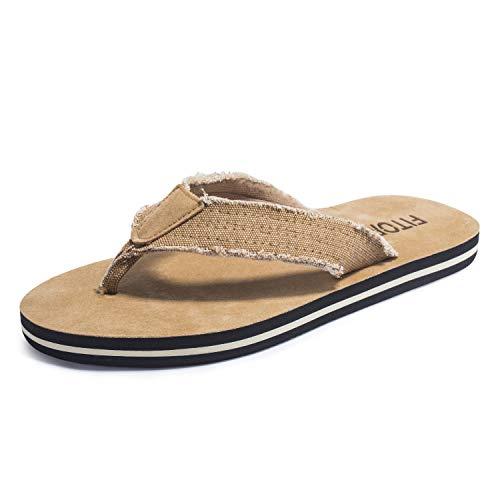FITORY Men Flip Flops Fraid Thong Sandals Comfortable Beach Slippers Khaki Size10