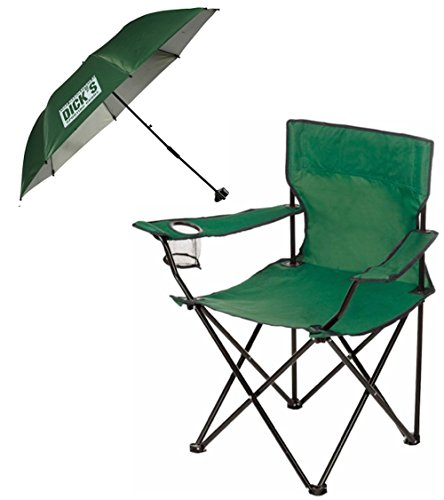 Dicks Sporting Goods Folding Chair With Matching Clamp On Umbrella Shade  Green