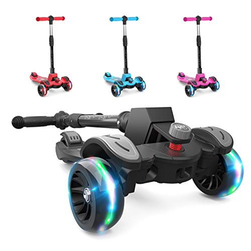 (6KU Kids Kick Scooter with Adjustable Height, Lean to Steer, Flashing Wheels for Children 3-8 Years Old Black)