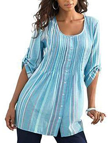 Utyful Women Casual Multicolored Blue Pastel Striped Print Button Down Blouses Roll-up Sleeve Loose Blouse Tops Tunic Size XL 16 18 ()