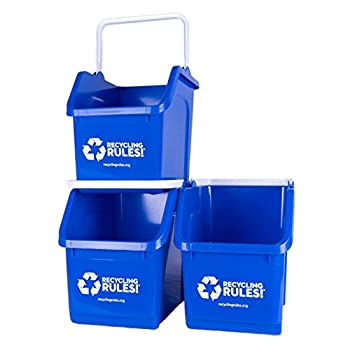Blue Stackable Recycling Bin Container with Handle 6 Gallon - 3 Pack of Bins