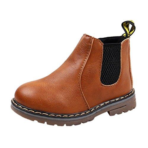 Baby Stiefel,Chshe Kinder Mode Jungen Mädchen pu leder Gummi Marten Sneaker Stiefel Kids Boy Casual Schuhe Braun