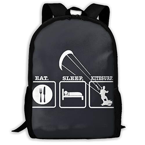 Kitesurfing Mens Hoodie - Eat Sleep Kitesurfing Multi-function Backpack College Bookbag