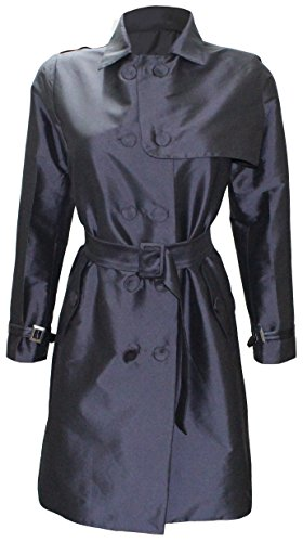 ited Edition Double Breasted Silk Trench Coat (X-Large (US Size:10)) (Leather Trim Trench Coat)