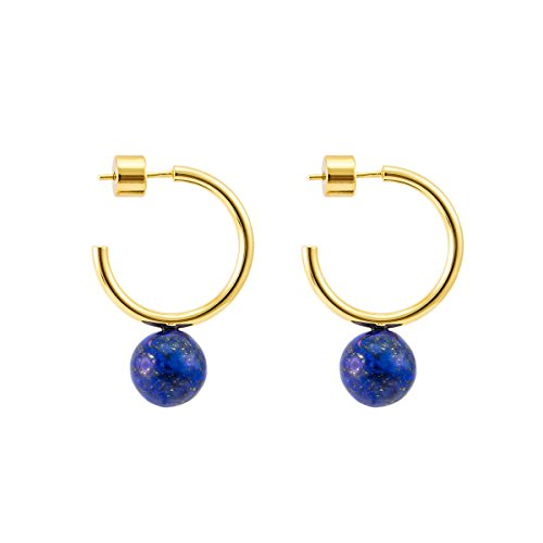 925 Sterling Silver Post 14k Gold Plated Open Cuff Hoop Earrings Natural Gemstone Pearl Hooped Stud Post Minimalist Earrings Gifts for Women Ladies Girls (Small C Shape Gold & Lapis Lazuli) - Lapis Post Earrings