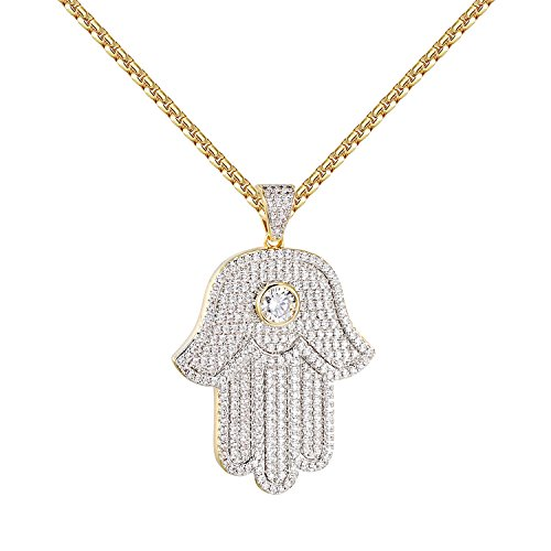 Gold Hamsa Pendant (Solitaire Hamsa Hand Pendant 14k Gold Finish Iced Out Lab Diamonds Sterling Silver)