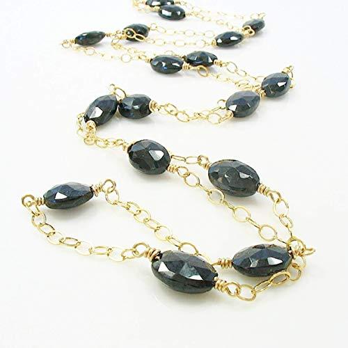 Black Spinel Long Gemstone Station Necklace 14K Gold Filled 34 - 14k Necklace Spinel
