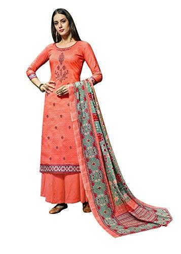 Ladyline Womens Cotton Embroidered Salwar Kameez with Palazzo Pants & Cotton mal Dupatta Indian Pakistani Suit (Size_36/ Peach)