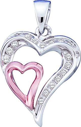 Aienid 10Kt White Gold 0.25ct Diamond Ladies Heart Pendant Necklace For Ladies