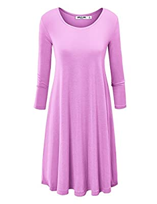 LL Womens Round Neck 3/4 Sleeves Tunic Dress - Made in USA