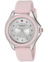 MICHELE Women's 'Cape Topaz' Swiss Quartz Stainless Steel and Silicone Casual Watch, Color:Pink