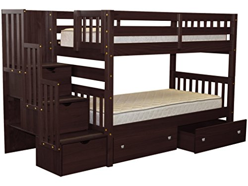 Bedz King Stairway Bunk Beds Twin over Twin with 3 Drawers in the Steps and 2 Under Bed Drawers, Cappuccino 3