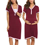 Ekouaer Womens Delivery/Labor/Maternity/Nursing Nightgown Pregnancy Gown for Hospital Breastfeeding Dress,Wine Red,Large