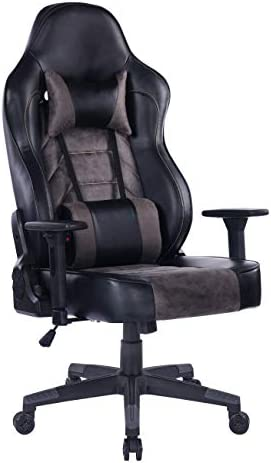 Bosmiller Gaming Chair Pc Computer Game Chair With Footrest Racing Gamer Chair Ergonomic Office Chair High Back Pu Leather Computer Desk Chair With Lumbar Cushion And Headrest 8341 Black Furniture Kolenik Home Office Furniture