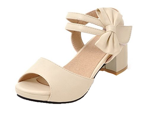 Kitten Pu Women's Beige Heels and WeenFashion Sandals CA18LB04858 Hook Open Toe Loop ORw1fq