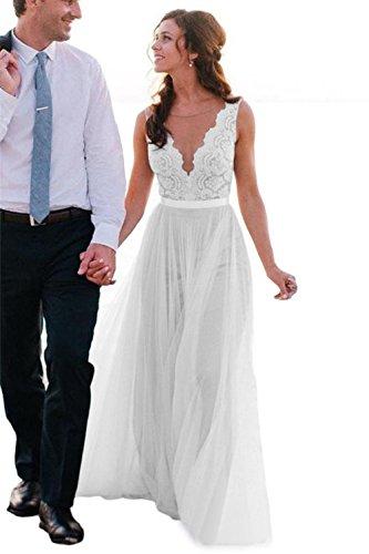 LMBRIDAL Women's Sheer V Neck Beach Wedding Dress Lace Long Bridal Gown White 8 ()