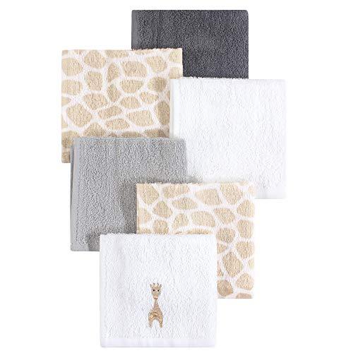 (Hudson Baby 6 Piece Woven Terry Washcloths, Giraffe, One Size)