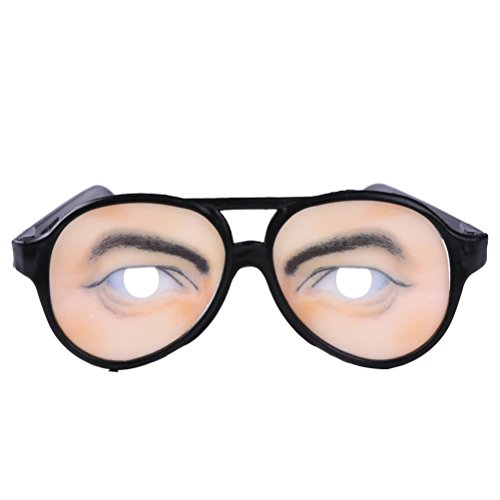 AMOSFUN 1 Pair Funny Glasses Hilarious Eyewear Disguise Eyeglasses for Halloween Fools Day Decor (Man) -