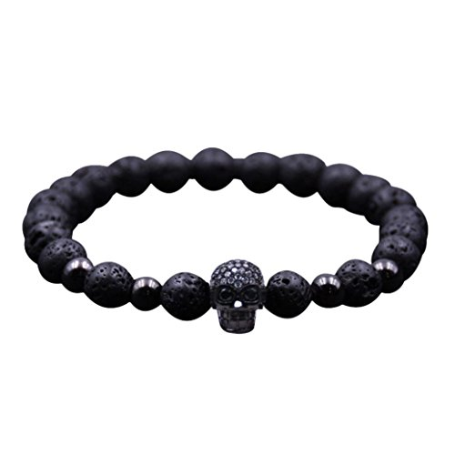 - Clearance, Volcanic Rock Bracelet 8mm Copper Bead with Tiny Zircon Stone Skull Head Bracelet (Black)