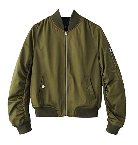 E Solido Colore Baseball Biker Leggero Casuale amp; Verde H Di Peso Delle Bomber Militare Donne Il Cappotto Giacca Cwq6SpA