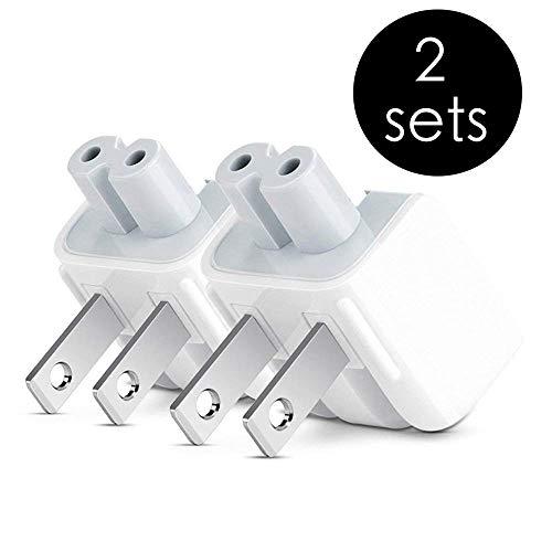 AC Power Adapter Wall Folding Plug Duck Head, Charging Adapter US Plug Duck Head Compatible with MacBook Pro/MacBook Air/Mac iBook/iPhone/iPod AC Power Adapter Brick (2 Pieces)