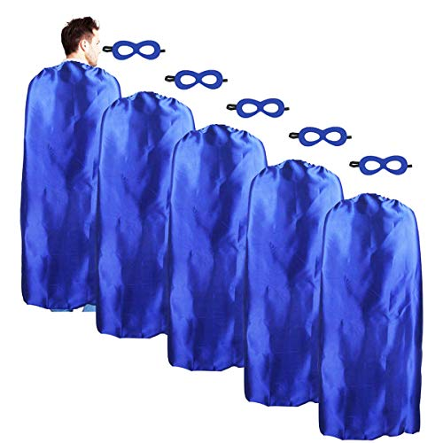 iROLEWIN Adult-Sized Superhero Capes with Masks Set Costumes for Men - Women Dress up Party (Blue) for $<!--$19.98-->