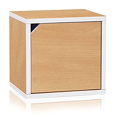 Way Basics Eco Stackable Connect Storage Cube with Door, Natural/White - IT'S NOT WOOD; IT'S BETTER! Made with durable zBoard recycled paperboard, eco friendly, non-toxic and free of formaldehyde and VOC LIFETIME GUARANTEE. Happiness with product and service promised by our CEO and founder Easy to assemble, no tools required, just Peel the 3M Adhesive strips and put together with easy-align pins; 3M industrial Adhesive securely builds unit - living-room-furniture, living-room, bookcases-bookshelves - 41DcCoL3DUL. SS400  -