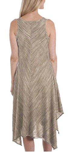 Fever Linen Blend Hanky Hem Sleeveless Dress for Women (L, Atmosphere/Tanglewood)]()