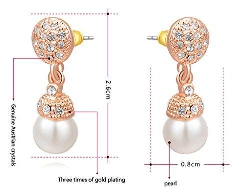 Plaqué Or Boucles D'Oreilles, Femme Boucles D'Oreilles Diamond Blanc Perle Incruster Or Rose Epinki
