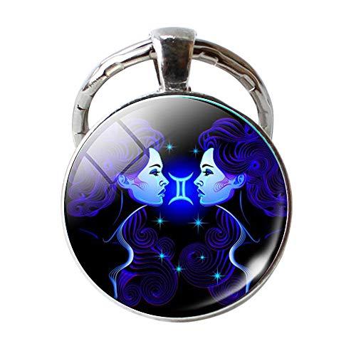 - Constellation Keychain Natural Crystal Stone Handmade DIY Keychain Charm Pendant Necklace Jewelry Constellation Keyring Gemstone Keychain
