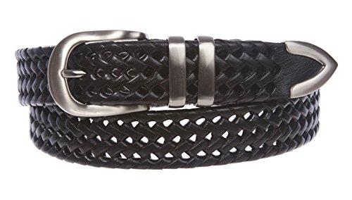 42 Black Western Belts (Men's 1 1/8 Inch (30 mm) Braided Leather Dress Lacing Belt Size: 42