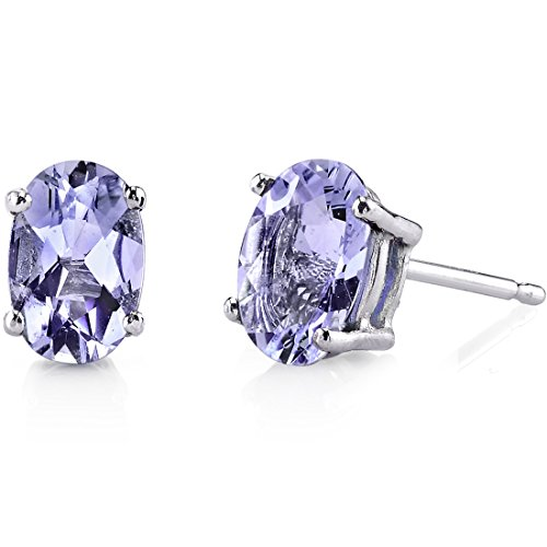 (14 Karat White Gold Oval Shape 1.50 Carats Tanzanite Stud Earrings)