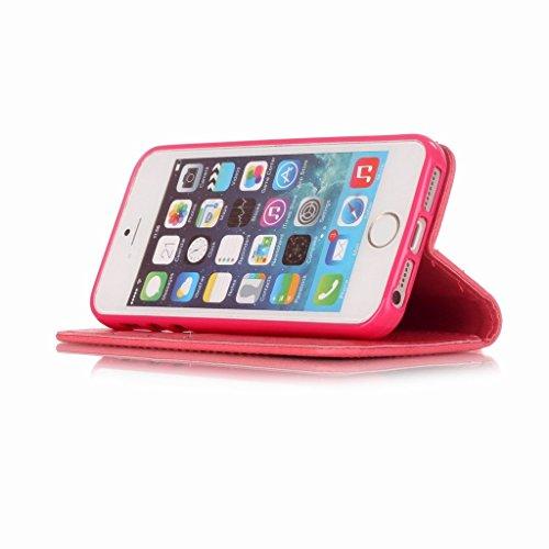 Yiizy Apple iPhone 5 / iPhone 5s / iPhone SE Hülle, Campanula Prägung Entwurf PU Ledertasche Klappe Beutel Tasche Leder Haut Schale Skin Schutzhülle Cover Case Stehen Kartenhalter Stil Bumper Schutz (