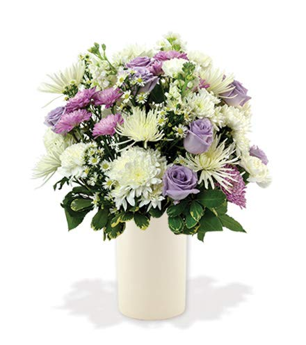 Treasured Moments Lavender Roses, White Spider Mums, Purple Carnations Sympathy Bouquet with a White Ceramic Vase (Fresh Cut Flowers)