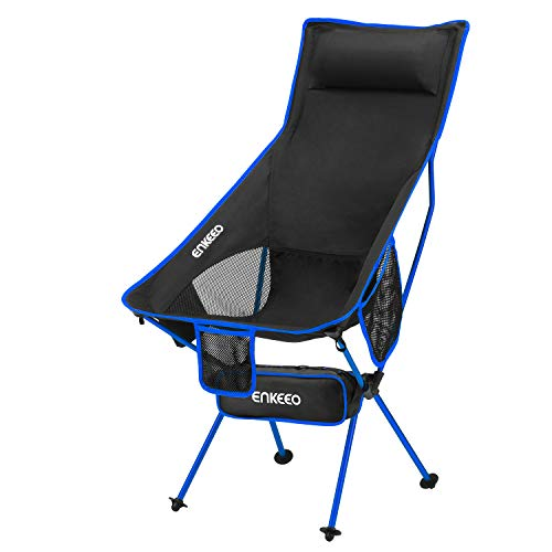 (ENKEEO Camping Folding Chair Portable Lightweight Mesh Seat with 330 lbs Capacity, Built-in Pillow, 3 Pockets, Backrest and Carry Bag for Backpacking, Fishing, Hiking, Picnic, Travel and Beach - Blue)