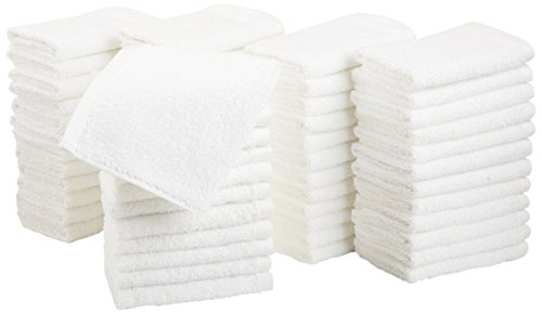 AmazonBasics Cotton Hand Towels - Pack of 60, White (Spa Washcloth)