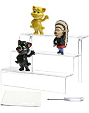 NIUBEE Acrylic Riser Display Shelf for Amiibo Funko POP Figures, Cupcakes Stand for Table,Cabinet, Countertops - 3-Tier, Clear