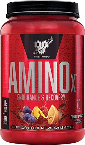 BSN Amino X Muscle Recovery Endurance Powder with BCAAs, 10 Grams of Amino Acids, Keto Friendly, Caffeine Free, Flavor Fruit Punch, 70 servings Packaging may vary
