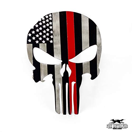 Fox MetalFab Powder Coated Trailer Hitch Cover Punisher (Red Stripe) - Led Skull Hitch Cover