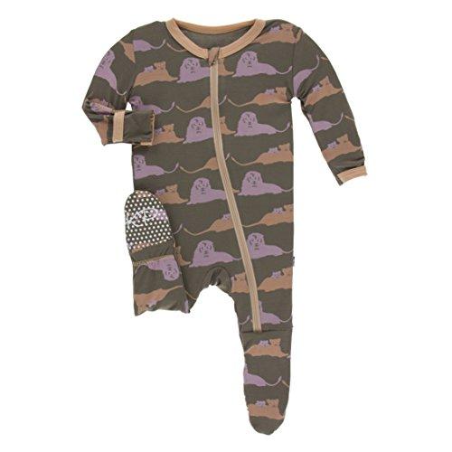 12385eb3c Kickee Pants Little Boys Print Footie with Zipper - Lions, 6-9 Months