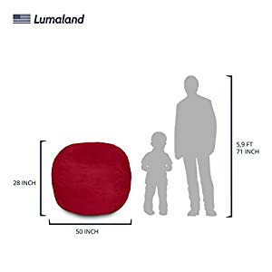 Lumaland Luxury 4-Foot Bean Bag Chair with Microsuede Cover Red, Machine Washable Big Size Sofa and Giant Lounger Furniture for Kids, Teens and Adults