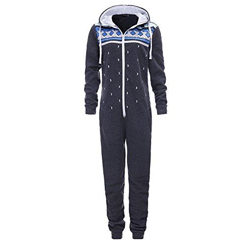 Bangerdei Women's Zip Up Hooded Jumpsuit One Piece Pajama playsuit Ladies Onesie Dark Grey M
