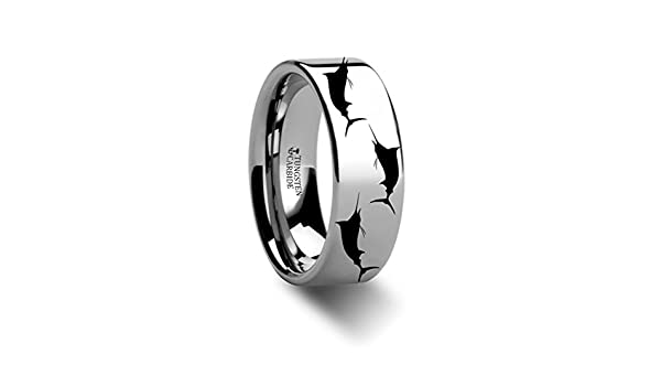 Thorsten Sport Fishing Jumping Marlin Sealife Fish Sea Print Pattern Ring Polished Tungsten Ring 12mm Wide Wedding Band from Roy Rose Jewelry