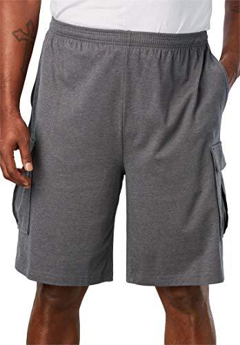 KingSize Men's Big & Tall Lightweight Cargo Shorts, Heather Slate Tall-6Xl - Drawstring Lightweight Shorts