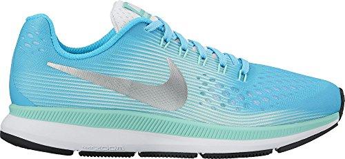 Nike Girl's Zoom Pegasus 34 (GS) Running Shoe Chlorine Blue/Metallic Silver/Hyper Turquoise Size 4 M US by NIKE