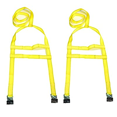 CESS Two (2x) DEMCO Car Basket Straps Adjustable Tow Dolly Wheel Net Tire Flat Hook
